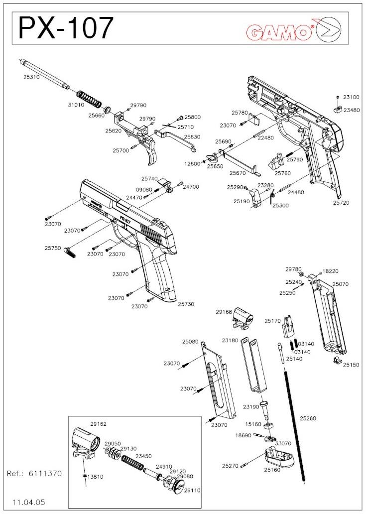 esquemas explodidos de armas gamo